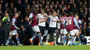 Aston Villa and Tottenham players clashed at Villa Park on Sunday