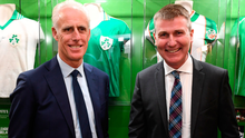 Who's the boss: Current Ireland manager Mick McCarthy with his successor Stephen Kenny at the launch of the National Football Exhibition in Dublin Castle last November. Photo: Sportsfile