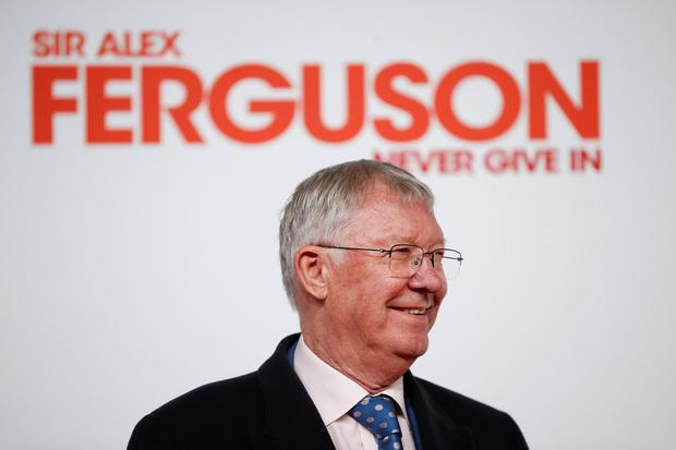 """Sir Alex Ferguson attends the world premiere of the documentary """"Give In at Old Trafford. Picture: Reuters"""