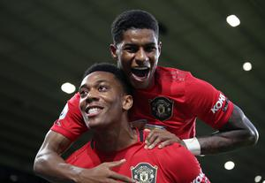 Manchester United duo Anthony Martial, front, and Marcus Rashford could make a late challenge for the Golden Boot (PA)