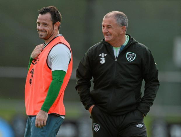 Republic of Ireland interim manager Noel King and Andy Reid