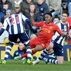 Raheem Sterling, centre, was arguably Liverpool's best player in the draw at West Brom