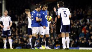 Kevin Mirallas, right, decided to take responsibility from the spot but missed Everton's best opportunity of the game