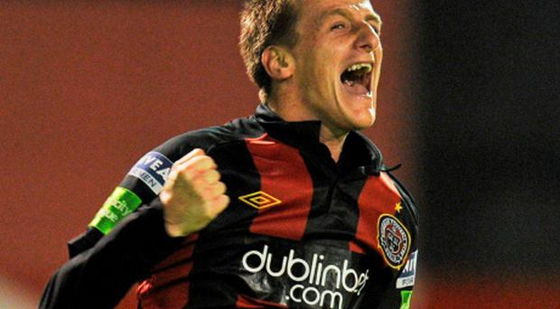 20 September 2011; Anto Flood, Bohemians, celebrate's after scoring his side's first goal. FAI Ford Cup Quarter-Final Replay, Bohemians v Dundalk, Dalymount Park, Dublin. Picture credit: David Maher / SPORTSFILE