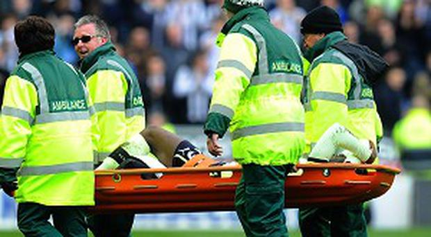 Massadio Haidara was carried off on a stretcher following Callum McManaman's challenge