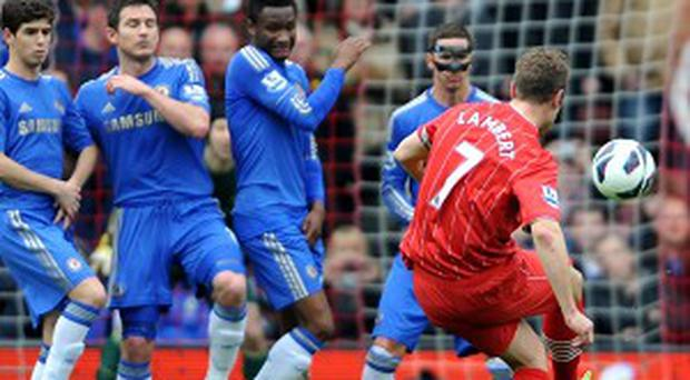 Rickie Lambert, right, was on target with the second goal against Chelsea