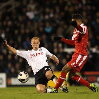 Steve Sidwell, left, was dismissed for this tackle on QPR's Armand Traore