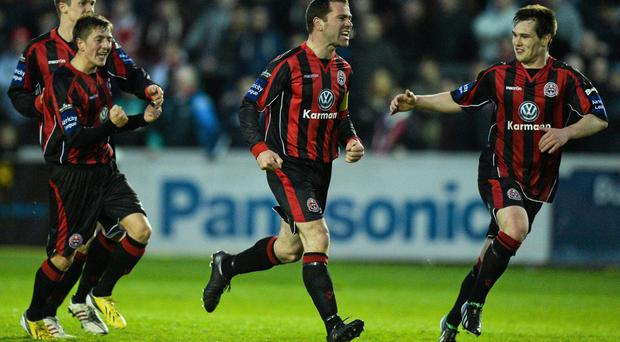 Bohemians' Dave Mulcahy celebrates scoring the equaliser last night