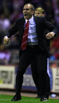 Sunderland manager Paolo Di Canio reacts as John O'Shea scores their side's equaliser