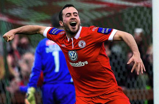 Sligo Rovers' Ross Gaynor celebrates after scoring his side's third goal