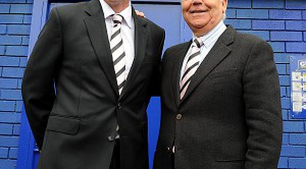 Everton chairman Bill Kenwright, right, is looking for a successor to David Moyes