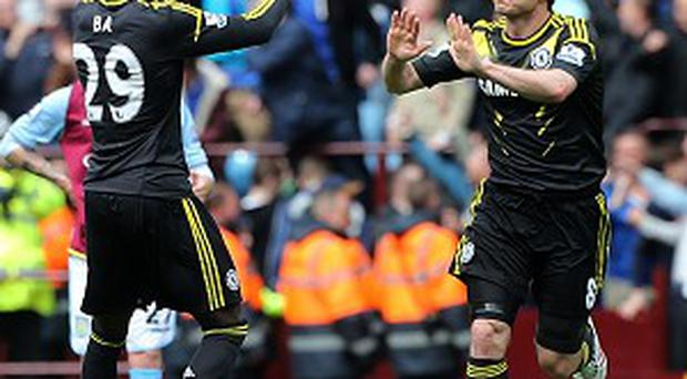 Frank Lampard, right, bagged a brace against Aston Villa