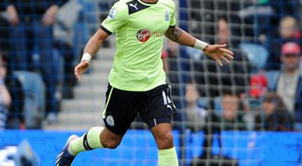 Yoan Gouffran celebrates netting Newcastle's winner