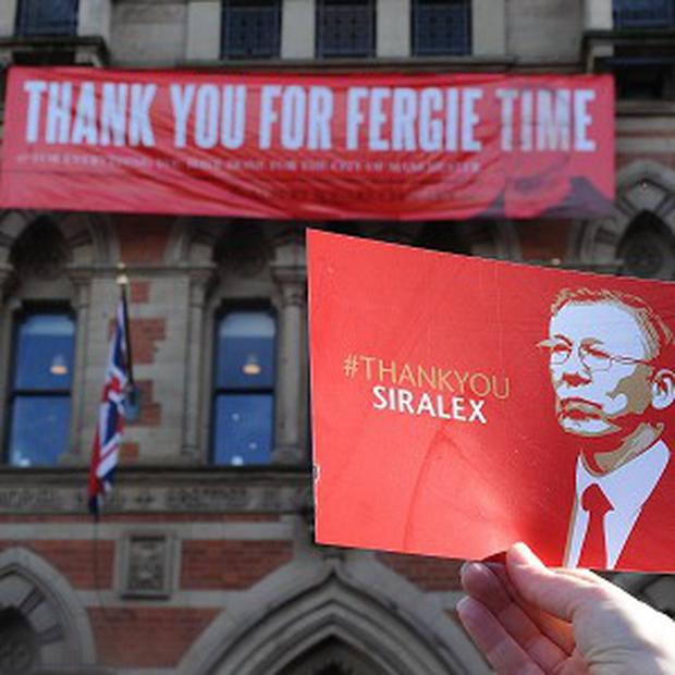 Manchester United fans have gathered in the city to celebrate the title triumph and say farewell to Sir Alex Ferguson