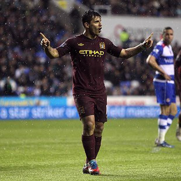 Sergio Aguero scored just before the break as Manchester City defeated Reading