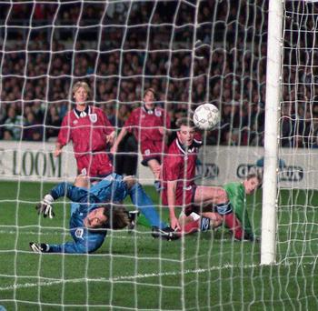 The last time we played England on home soil was on 15 February 1995, when the game was famously abandoned. This photo shows David Kelly, Republic of Ireland, scoring the opening goal past England goalkeeper David Seaman. Picture: David Maher/SPORTSFILE