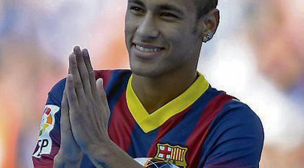 Neymar during his official presentation at the Camp Nou stadium in Barcelona