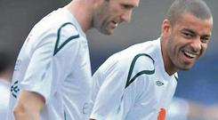 Steven Reid pictured with Robbie Keane when he was a member of the Irish squad