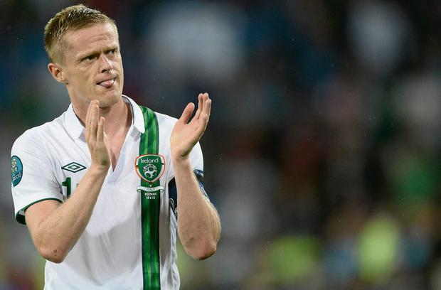 Damien Duff acknowledges the supporters after the final match for Ireland - against Italy in Poznan at Euro 2012
