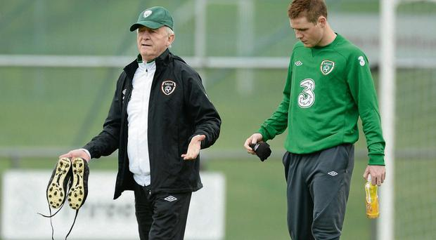 Republic of Ireland manager Giovanni Trapattoni with James McCarthy during squad training with Ireland