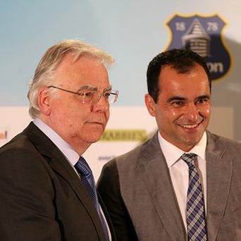 Bill Kenwright, left, has confirmed Everton have enquired about two players