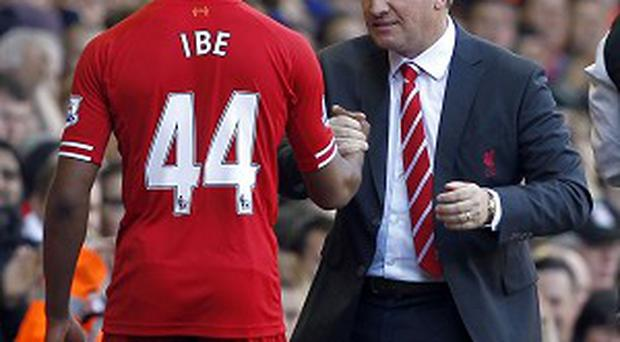 Jordan Ibe, left, is taking advice from Brendan Rodgers