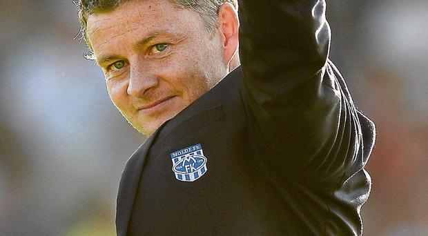 Molde manager Ole Gunnar Solskjaer acknowledges the crowd after his team's win in Sligo