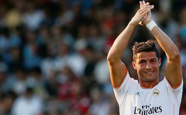 Christiano Ronaldo acknowledges the cheers after scoring against Bournemouth last night