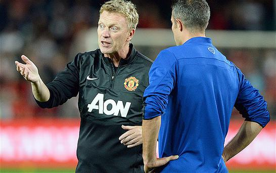 Man United manager David Moyes with Robin van Persie
