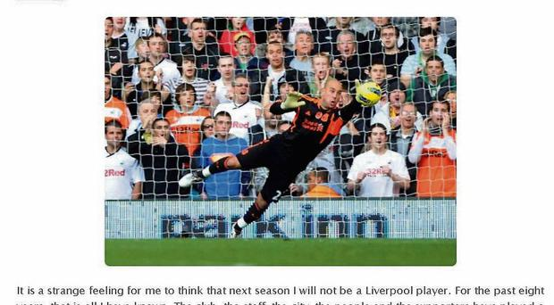 A screengrab of Pepe Reina's official website showing his open letter to Liverpool fans