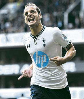 Roberto Soldado of Spurs celebrates after scoring the opening goal from the penalty spot during the Barclays Premier League match between Tottenham Hotspur and Swansea City