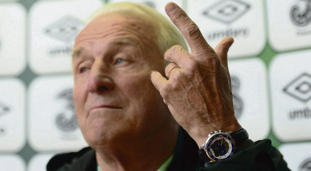 Republic of Ireland manager Giovanni Trapattoni during a press conference at Gannon Park, Malahide yesterday. Photo: Paul Mohan
