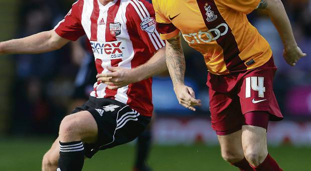 Mark Yeates in action for Bradford City