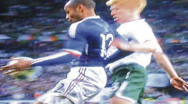 Thierry Henry's infamous handball in the play-off game in Paris