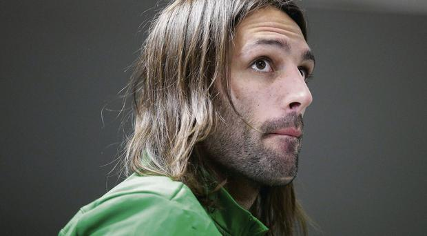Georgios Samaras, who could lose out to Anthony Stokes tonight, deep in thought before a news conference at Giuseppe Meazza stadium in Milan