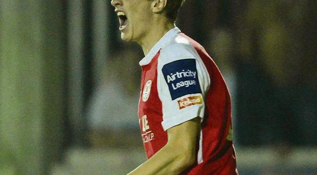 Chris Forrester celebrates after scoring St Patrick's Athletic's opening goal