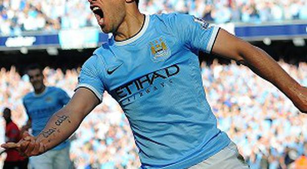 Sergio Aguero took a knock in the Manchester derby
