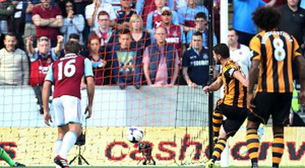 Robbie Brady, second right, scored from the penalty spot to win the game for Hull