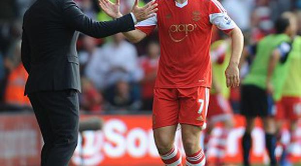 Rickie Lambert, right, scored Southampton's second goal against Palace