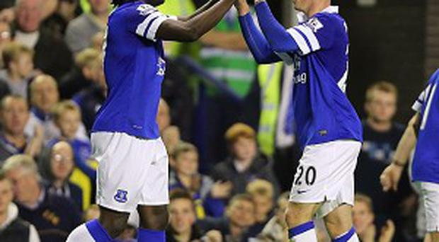 Romelu Lukaku, left, scored twice and also set up Ross Barkley's goal