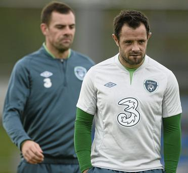 Republic of Ireland's Andy Reid, right, and Darron Gibson at the end of squad training ahead of their 2014 FIFA World Cup Qualifier, Group C, game against Germany on Friday
