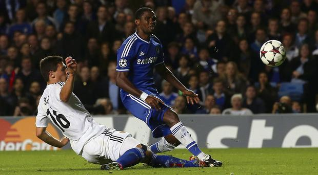 Samuel Eto'o is happy to have been the first Chelsea striker to score in the Premier League this season
