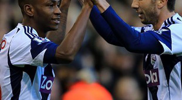 Saido Berahino, left, netted just before the break for West Brom