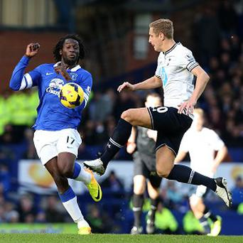 Romelu Lukaku, left, and his Everton team-mates could not find a way through