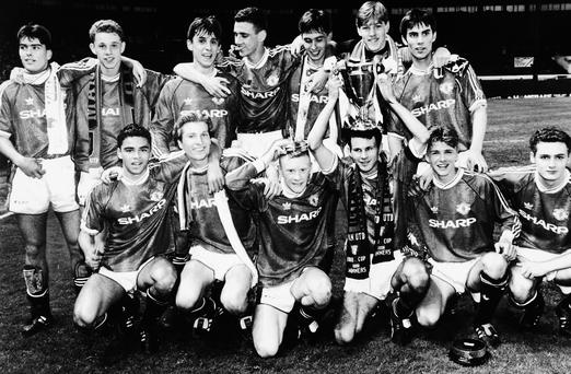 The Manchester United team following their victory in the 1992 FA Youth Cup final