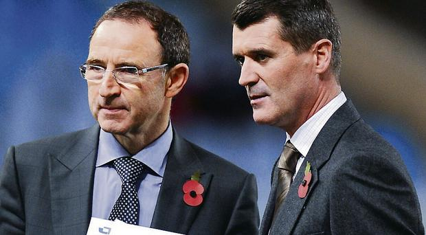 Bad-cop routine: Martin O'Neill and fellow football pundit Roy Keane who are now the Republic's 'dream team'