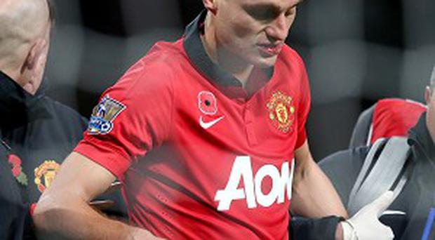 Nemanja Vidic suffered concussion during the game on Sunday