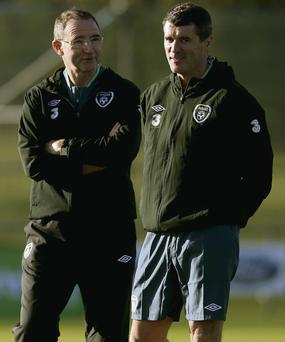 New Ireland manager Martin O'Neill (left) and his assistant Roy Keane share a joke during the Ireland training session at Gannon Park in Malahide yesterday – Keane will face the media in his new role for the first time today
