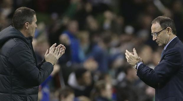 Republic of Ireland manager Martin O'Neill (right) and assistant manager Roy Keane