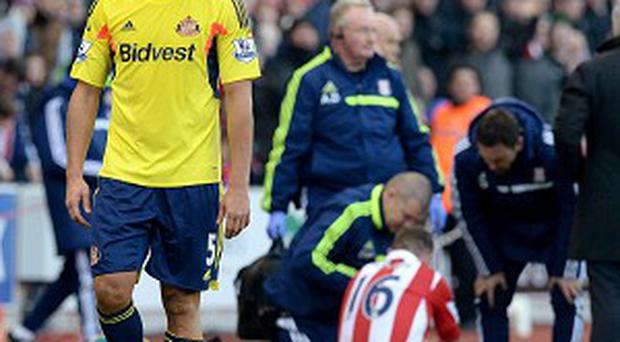 Wes Brown, pictured, was sent off for a tackle on Charlie Adam